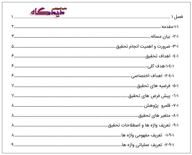 فهرست در ورد